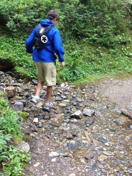Hammer rock hopping across some running water across the trail