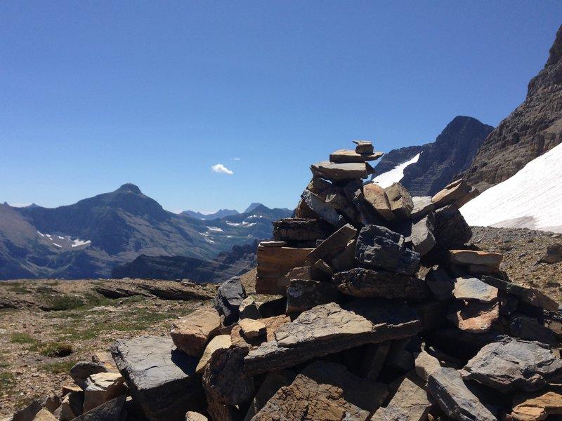 Cairn atop Siyeh Pass.