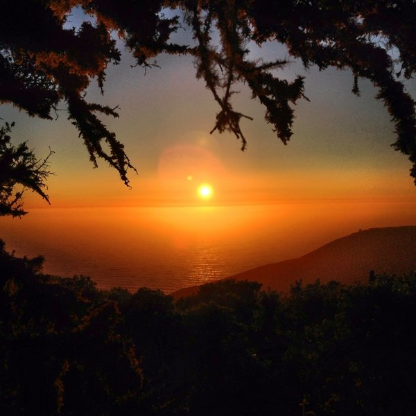 Sunset from the junction of where the North Peak Access Road Trail breaks off from the Old San Pedro Mountain Road.
