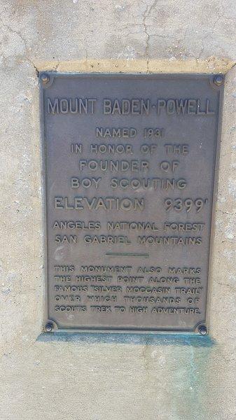 Mount Baden-Powell plaque
