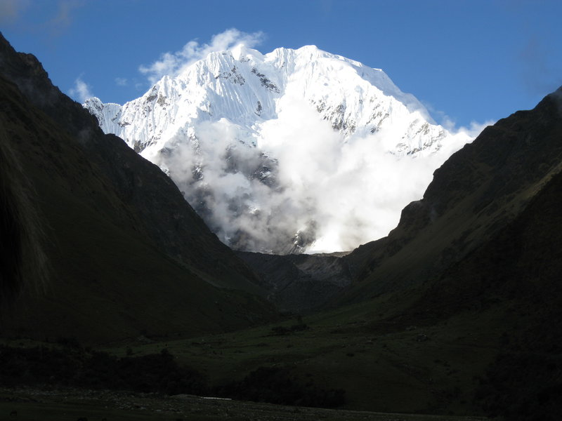 A view of the mountains of the Andes from the Salkantay Lodge.