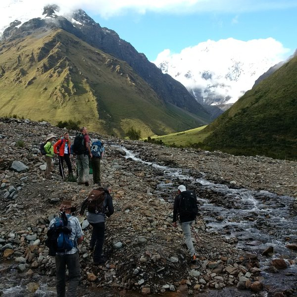 Crossing a river on route to the Salkantay Lodge.