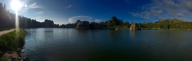 Panorama of Sylvan lake. One of the most beautiful lakes I have ever seen. If you are near Mount Rushmore take the time to drive up here and check it out. There is a nice trail that goes around the lake.