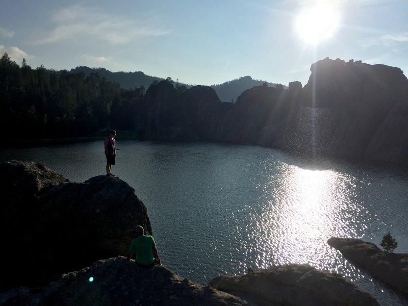 Some nice climbing on the rocks around Sylvan Lake.