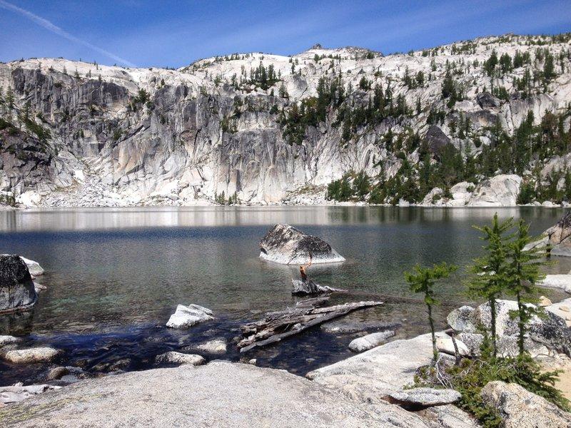 Lake Viviane after a long and hard climb.