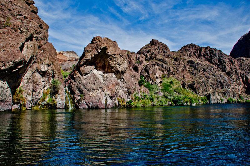 Spots of Green along the Colorado River.