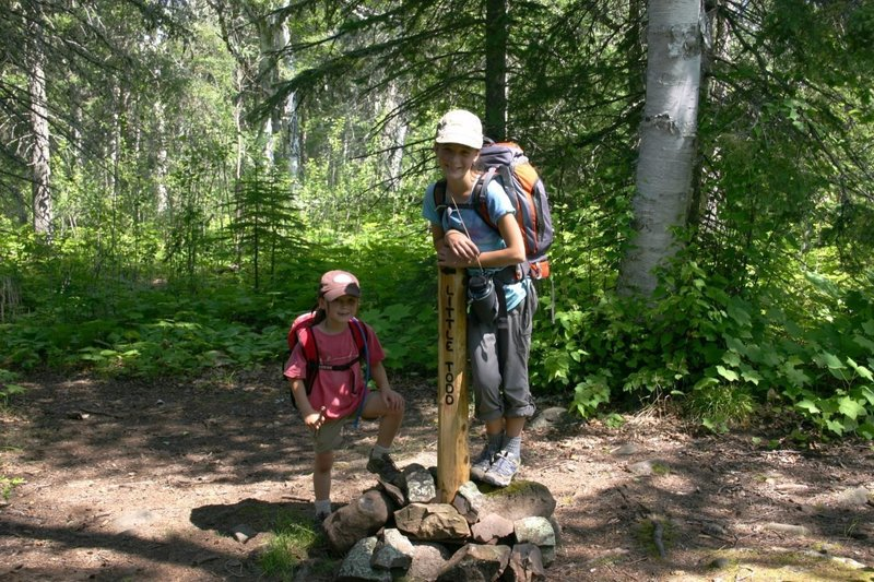 Family hiking trip on Isle Royale, Michigan.