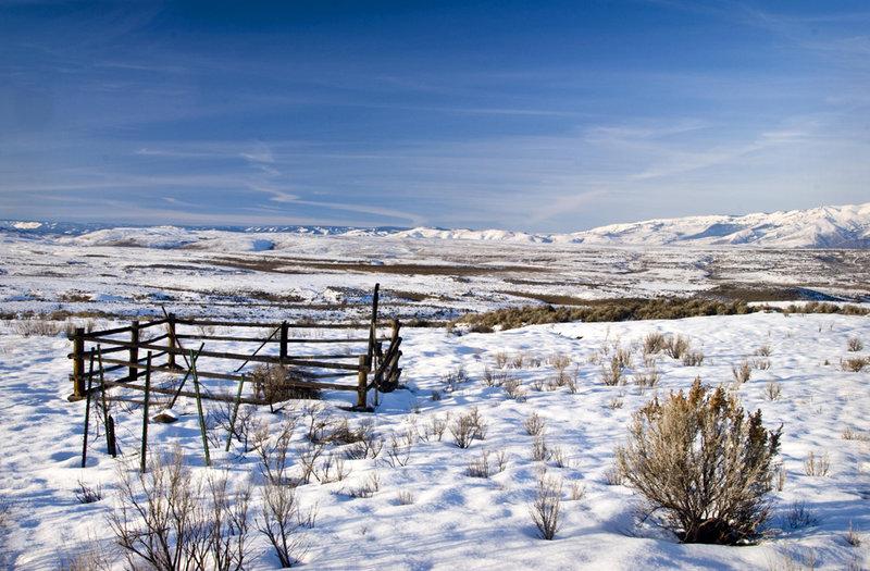 A winter view toward the Cascade Mountains.