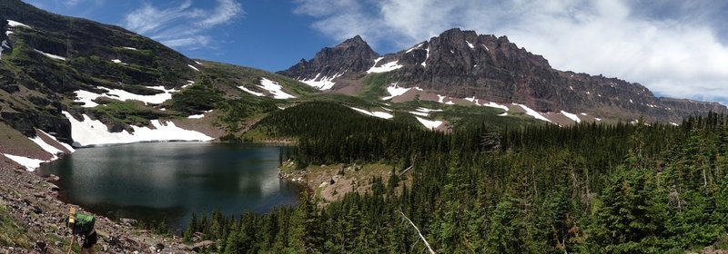 A view of Cobalt Lake in front of Two Medicine Pass