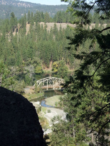 The view back down the canyon of the Spokane River and the Deep Creek Bridge as seen from Trail 411.