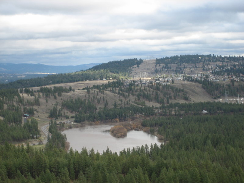 The view from the top of Pine Bluff toward the Spokane River.