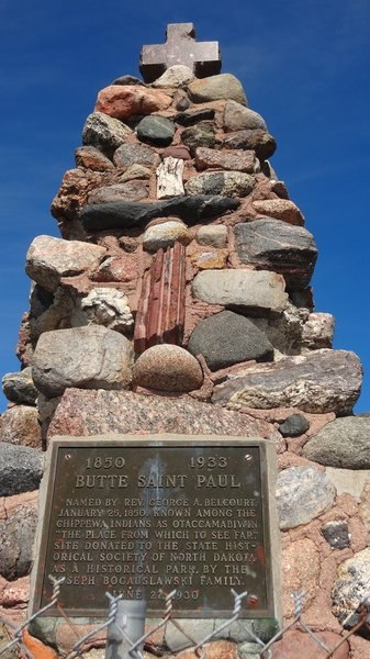 The historical monument at the top of the Butte St. Paul trail.