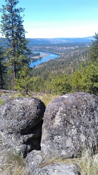 View of Long Lake (Lake Spokane) from the highest point in the loop hike.