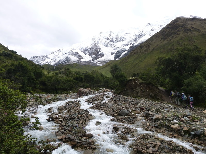 The Salkantay Trek has a few streams to cross along the way, but pretty easy to do (this picture is in late March).