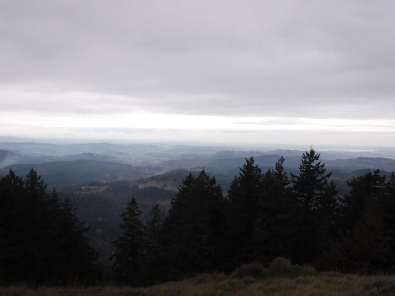Watching the clouds rolling in from the west at the top of Spencer Butte.