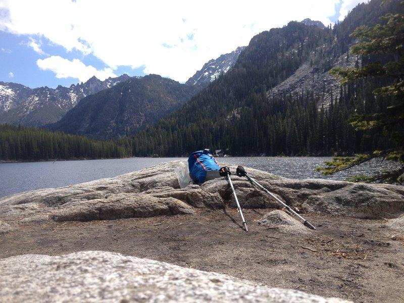 Enjoying the view from Stuart Lake.