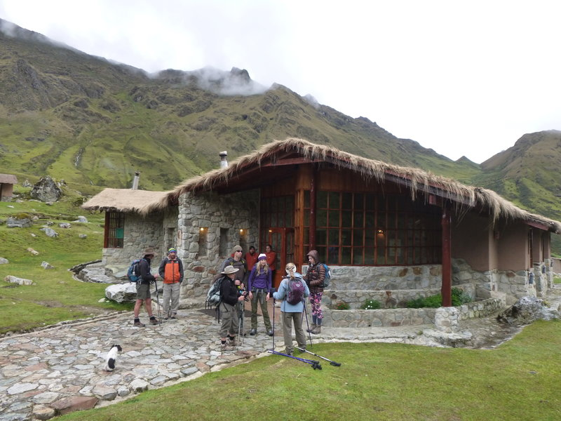 Hikers prepare for the their day on the Saulkantay Trek in front of the Wayna lodge.