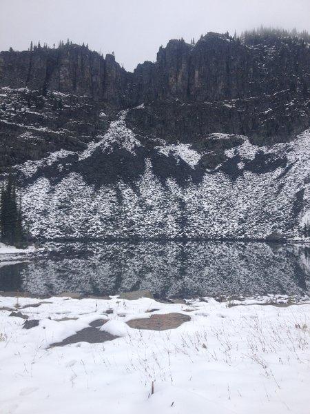 Reflection off of Bluebird Lake.