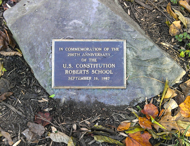 U.S. Constitution Memorial along the Cadet Trail near marker White 17