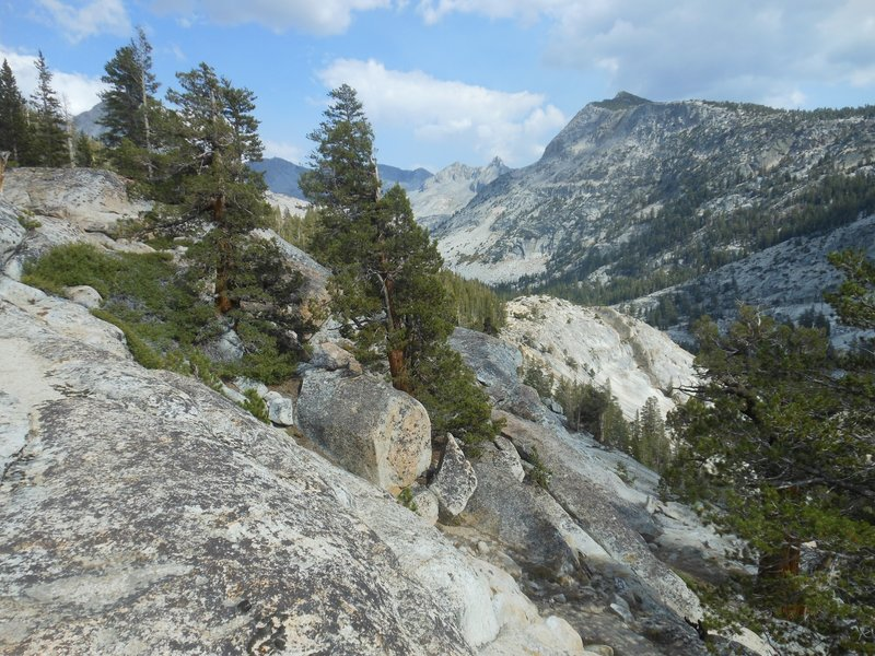 Looking east up the Lyell Fork of the Merced River.
