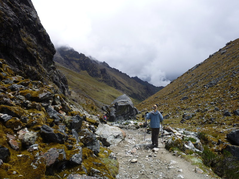 The trail was fairly wide and a little rocky. Trekking poles helped but were not required.