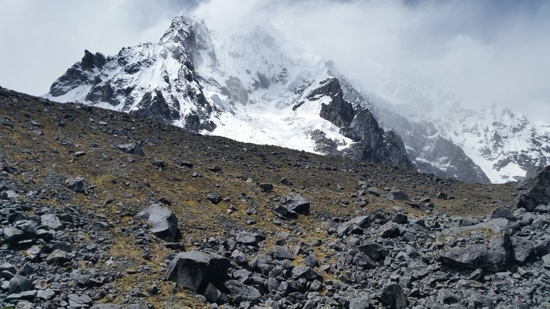 The views of Salkantay Mountain fade as we descend on the other side of the pass, but there is still a lot to see if you look up and around.