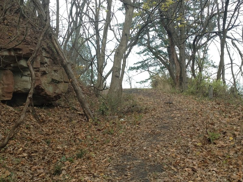 Part of the old road that the Old Walnut Trail follows for its final descent down to Green St.