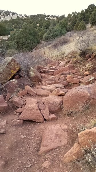 Nice traverse with small boulders aid in getting up the Morrison Slide Trail.