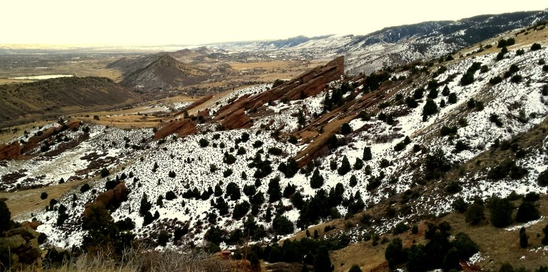 Overlooking Red Rocks Park to the south from the Morrison Slide Trail.
