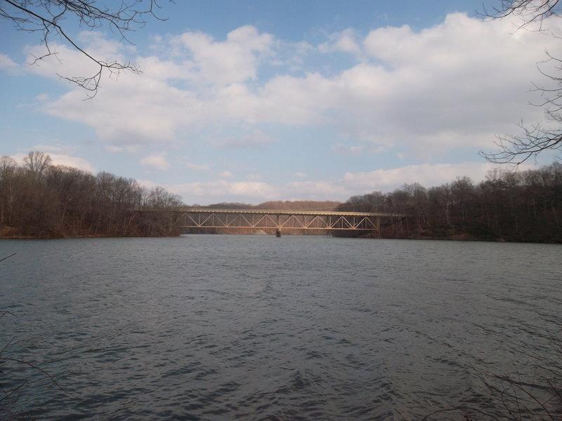 A bridge over gentle waters as seen from the Morgan Run Loop.