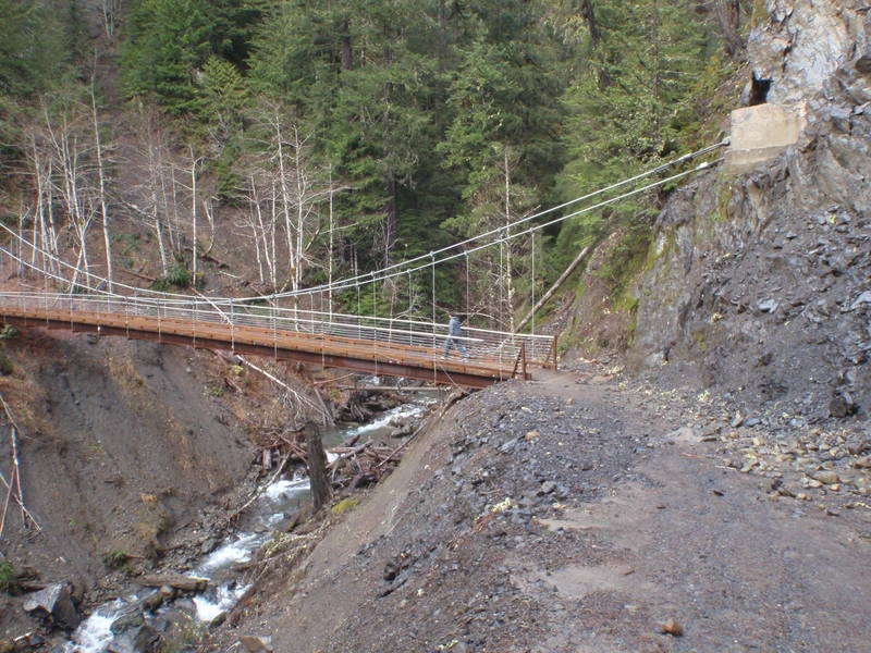 Beautiful Olympic Hot Springs Trail Bridge.