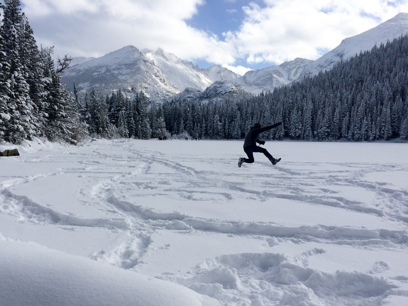 Jumping for joy in the fresh snow!