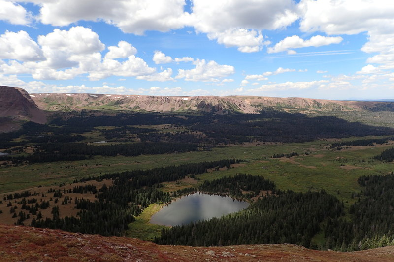 View of Dollar Lake and Henrys Fork Basin from the West Spur of Gilbert Peak.  (08/28/2015)