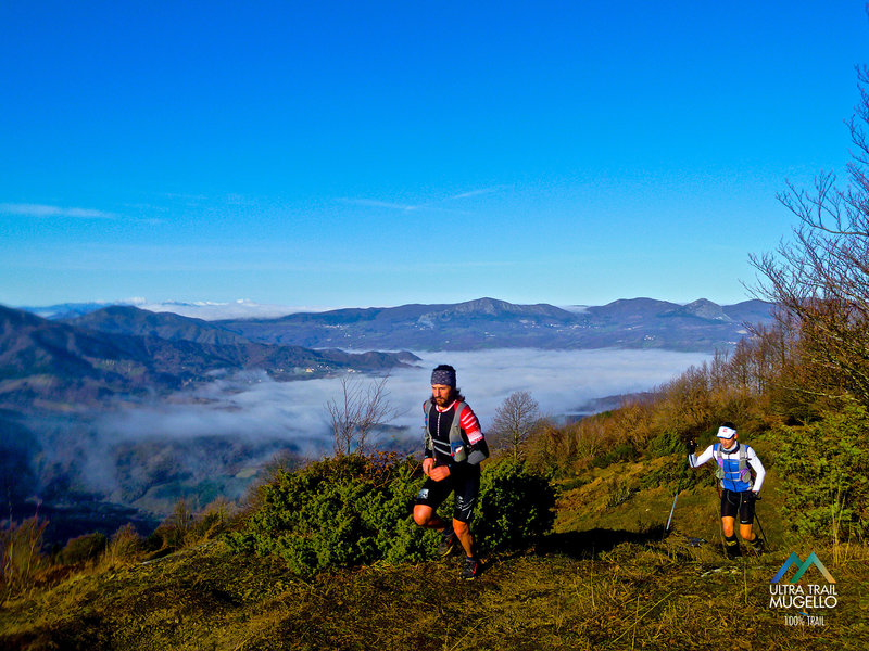 Adventurers coming up Monte Pratone from the Trail del Mugello.
