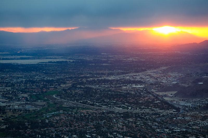 Palm Springs under a firey sunrise.