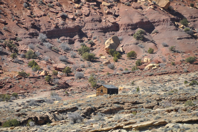 Once you exit the canyon go right on Behind the Reef road. This is the cabin if you go left on the road (the wrong way). If you pass it, turn around! It's off in the distance and blends in, so you may not even see it.