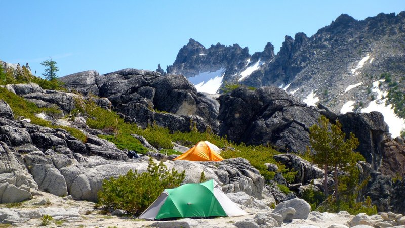 Tents along Snow Lakes Trail.