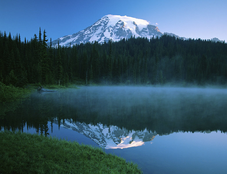 The view of Rainier from Relfection Lakes.