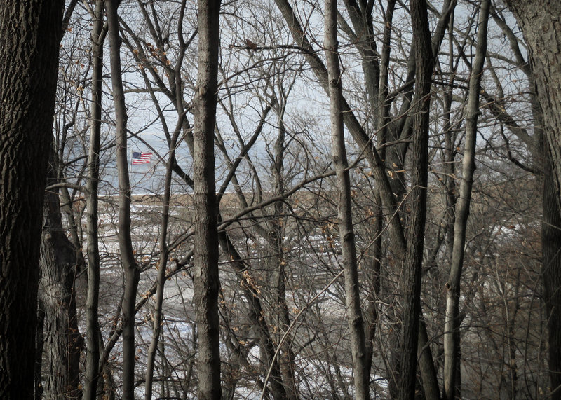 Looking down on Creve Coeur Lake from the Bootlegger's Run Trail.