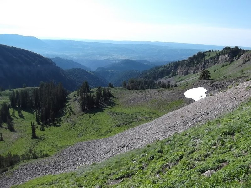 A view down the canyons and out into the Bear River Range from the Naomi Peak NRT.