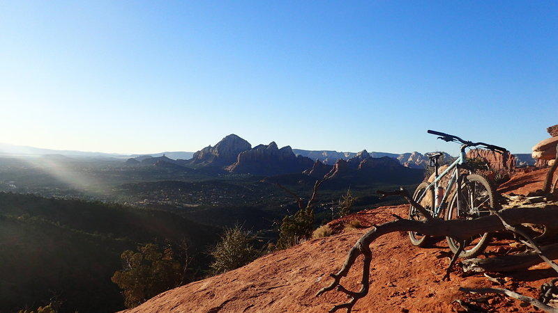 Looking out over the town of Sedona after the first long stretch of slick rock on the Hangover trail.