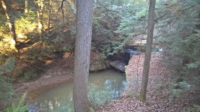 A view of the waterfall from the Boord State Nature Preserve Trail.