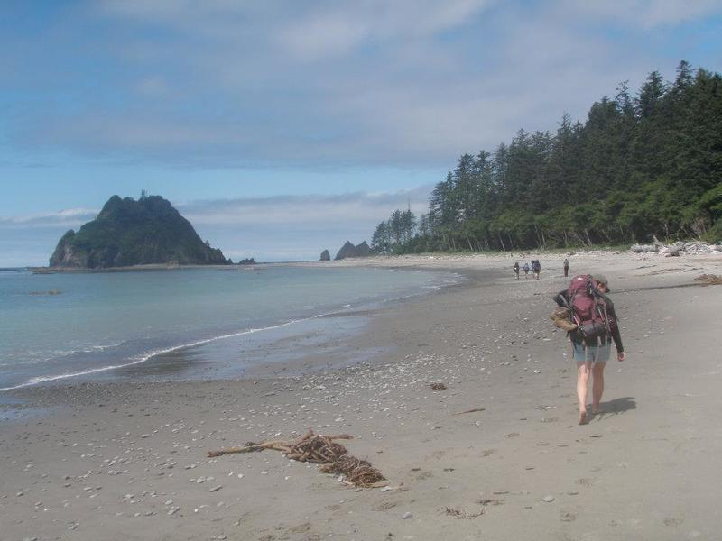 Hiking back towards Strawberry Point on the Third Beach to Toleak Point Trail.