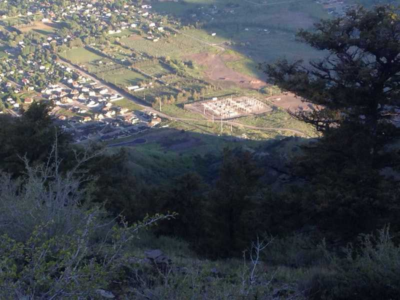 A view down from the top of the Saddleback Mountain Trail, with the shiny dot next to the large power lines being my car in the parking lot for this trail. It's a short distance to gain so much elevation!