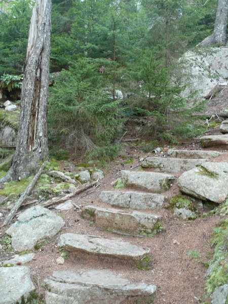 Stone stairs at the south side of the Valley Trail.