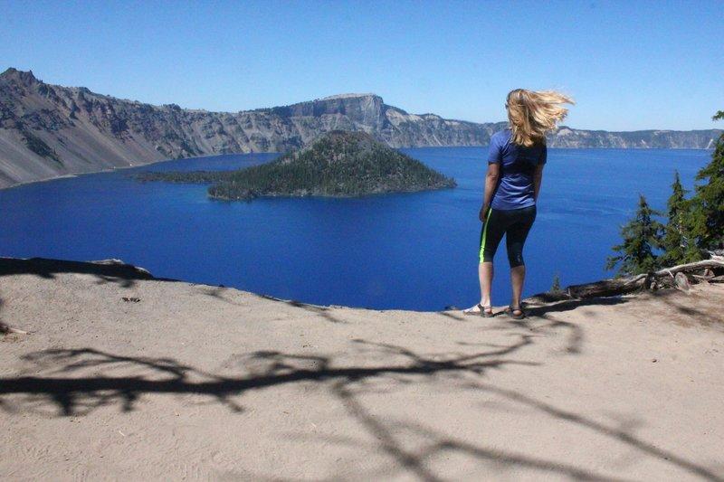 Admiring Wizard Island from the Garfield Peak Trail.