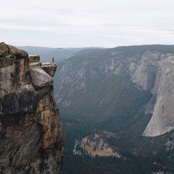 Overlooking Yosemite Valley at the edge of Taft Point as accessed by the Pohono Trail.