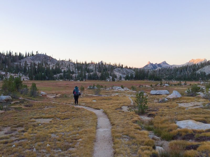 The path leading to the campsites at Sunrise High Sierra Camp.
