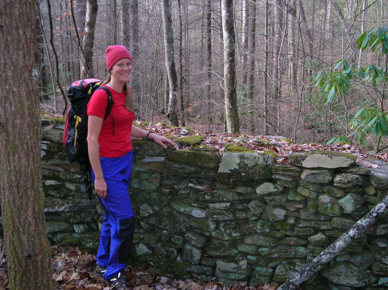 Stone wall at former homestead on the Boogerman Trail.