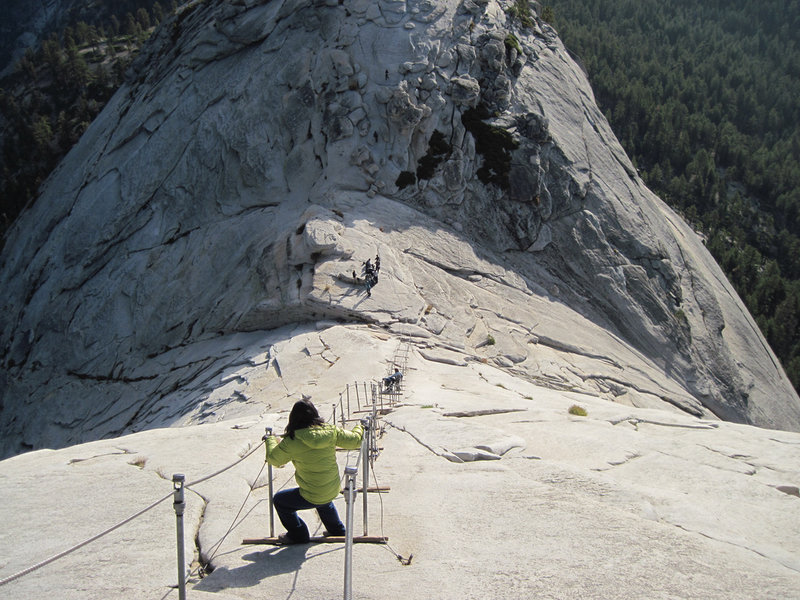 Coming down the cables from the Half Dome summit.